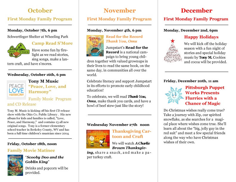 2019 Fall OCPL Family Programs Schedule, Page 2
