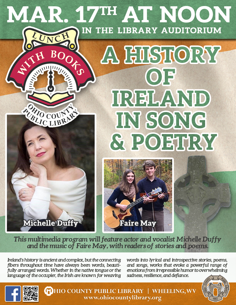 Lunch With Books: Tuesday, March17, 2020 at noon - A History of Ireland in Song & Poetry