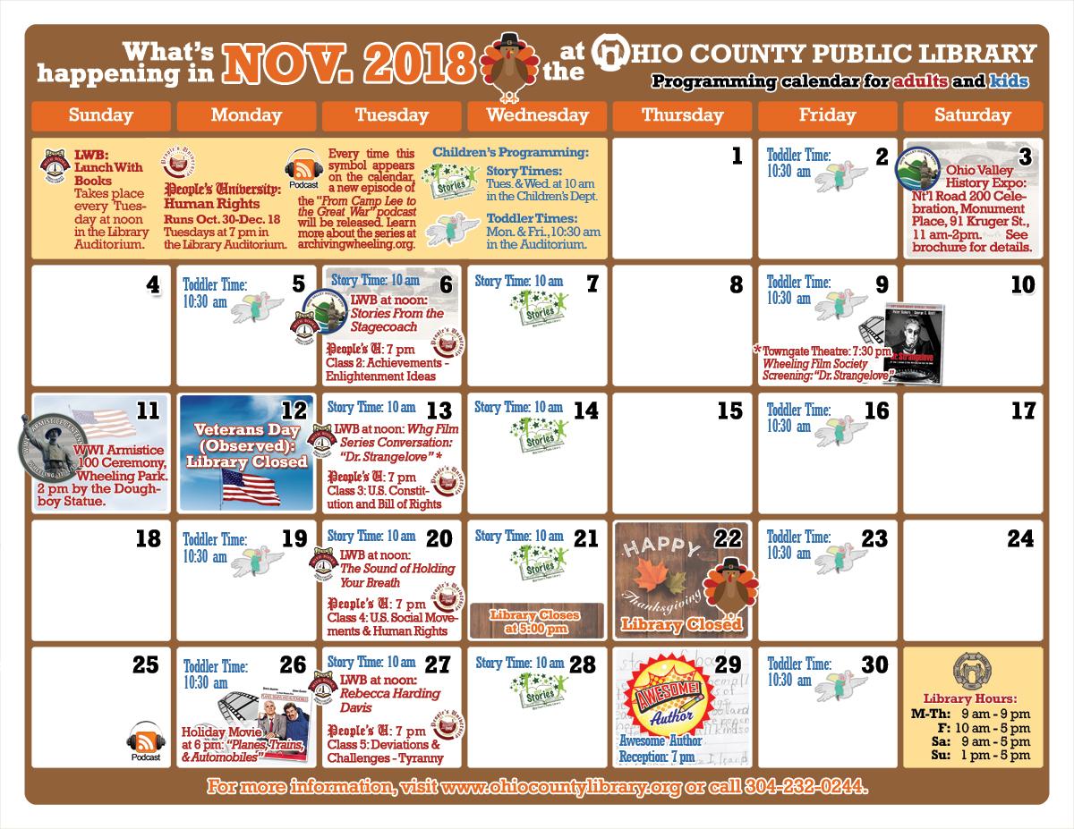 OCPL Programming Calendar: November 2018