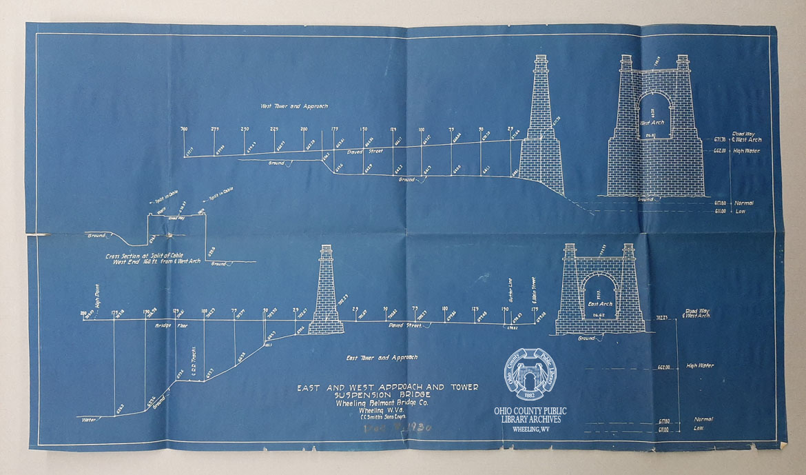 East and West Approach and Tower, Suspension Bridge, 1930, C.C. Smith's Sons Engineering, Inc. records, OCPL Archives