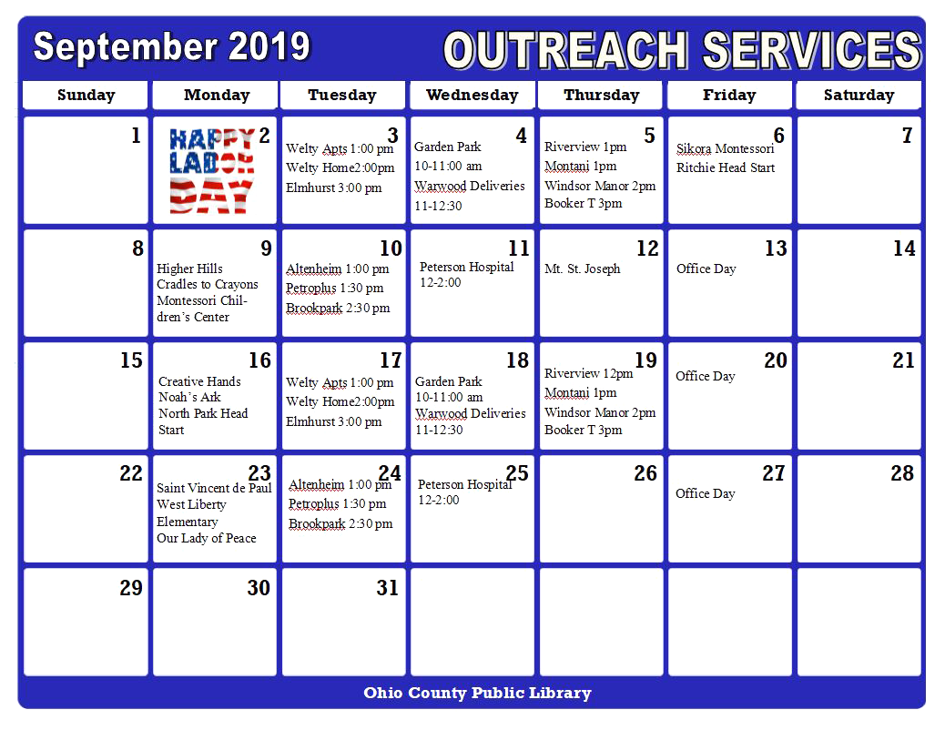 OCPL Outreach Services Calendar, September 2019