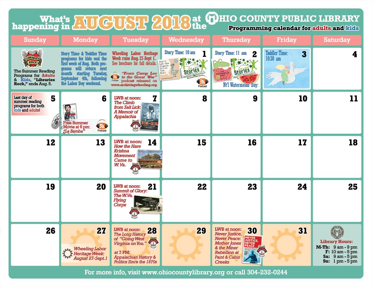OCPL Programming Calendar: August 2018