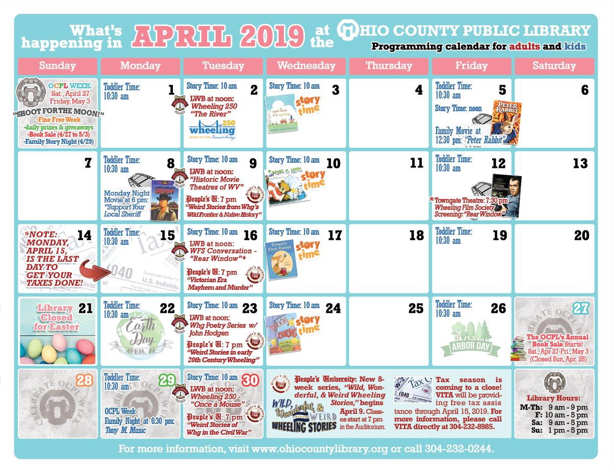 OCPL Programming Calendar: April 2019