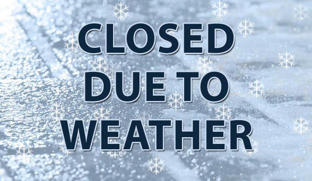 Library closed due to inclement weather, Wed., February 7, 2018.