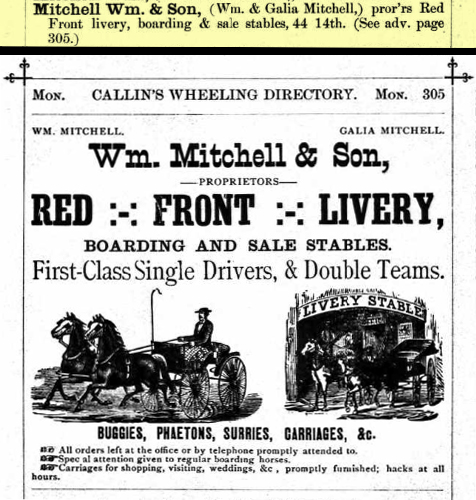 Advertisement from Callin's Wheeling City Directory, 1892: Wm. Mitcheel & Son, Red Front Livery