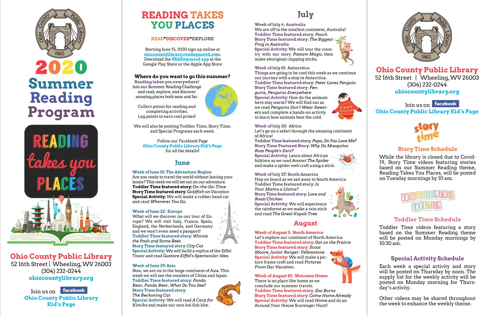 OCPL Toddler Time Schedule - Summer 2020