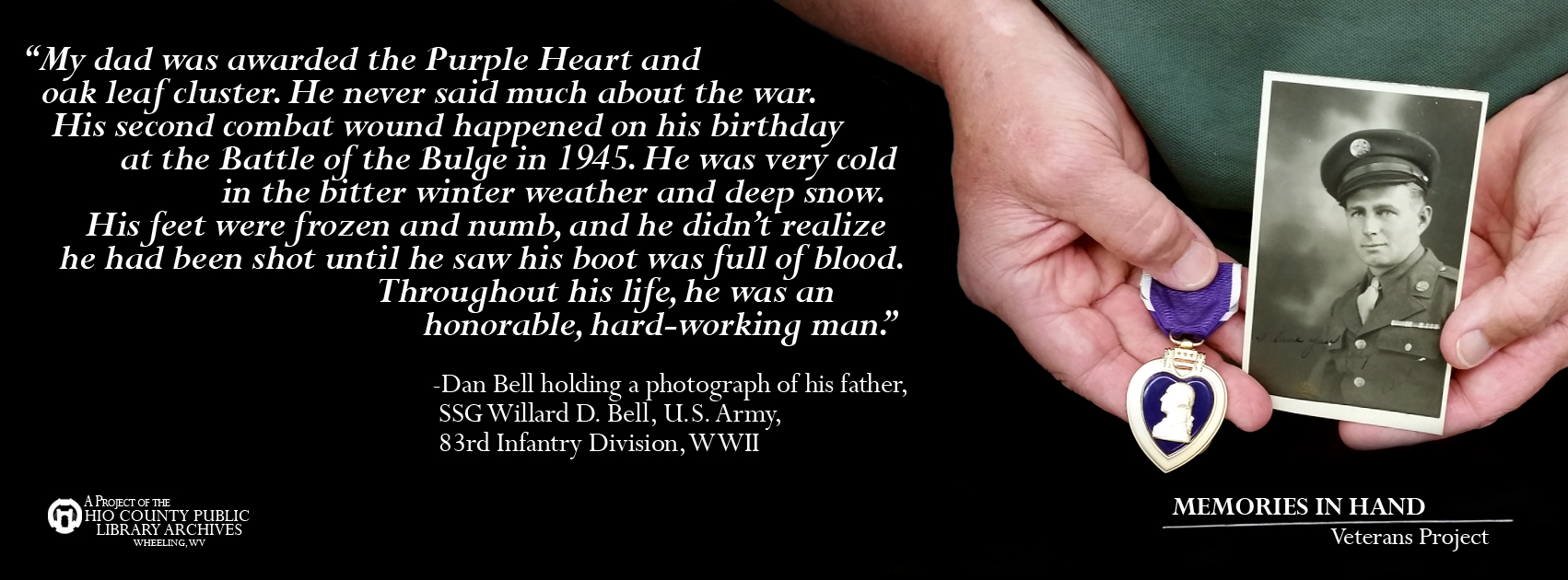 SSG Willard D. Bell, U. S. Army, 83rd Infantry Division, WWII, Purple Heart Recipient