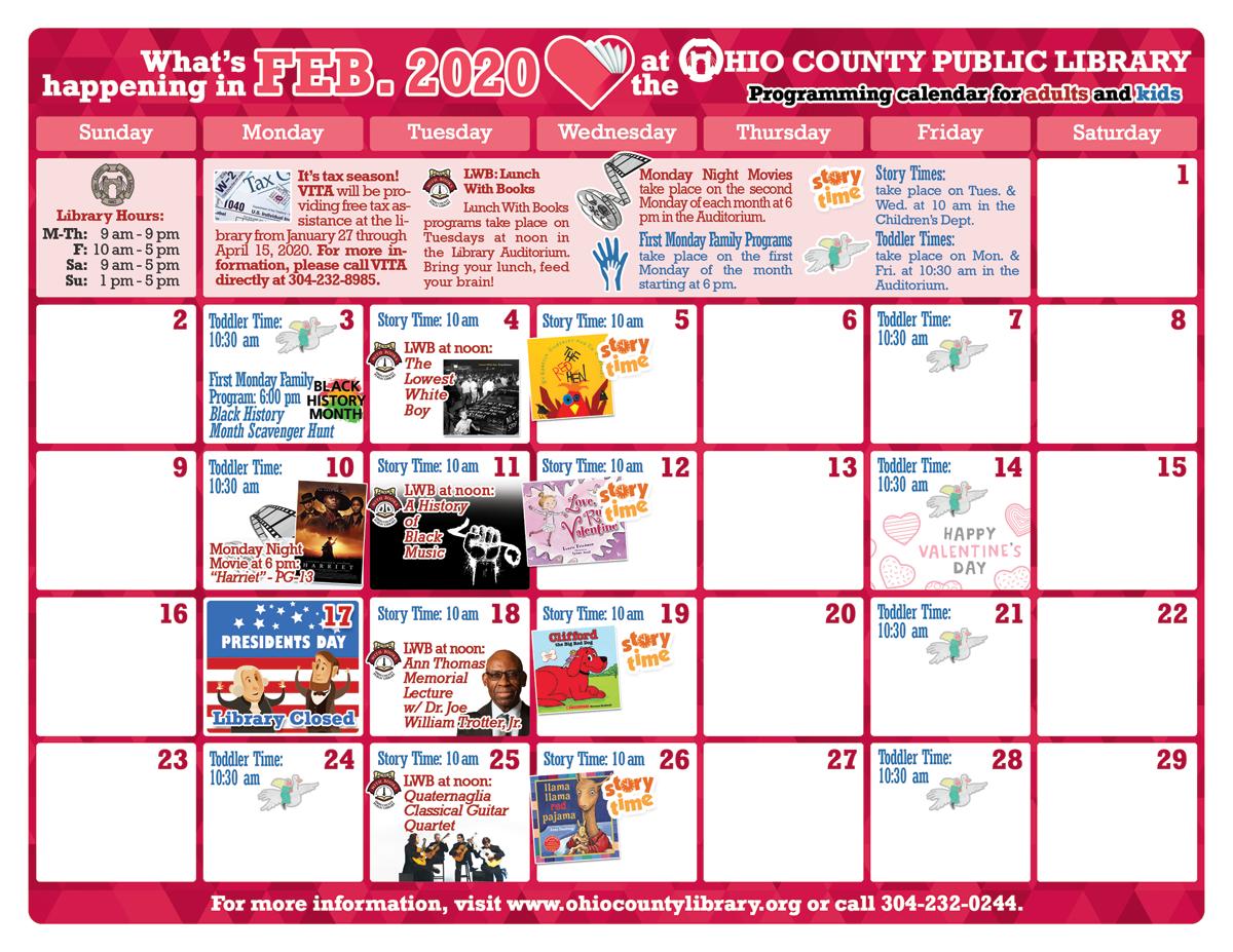 OCPL Programming Calendar: February 2020 width=