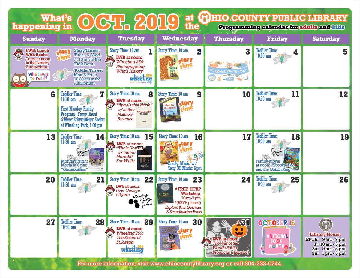 OCPL Programming Calendar: October 2019