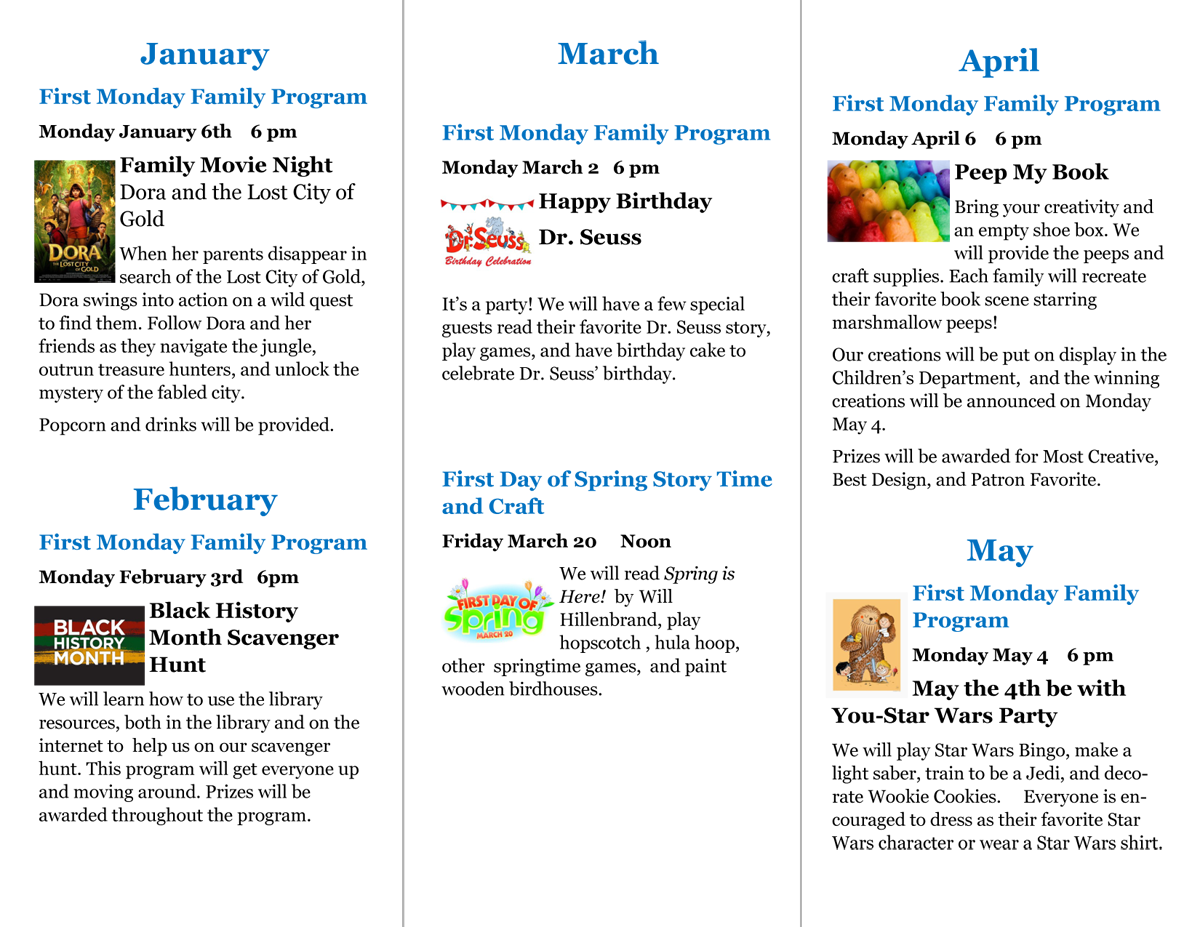 2020 January-May OCPL Family Programs Schedule, Page 2