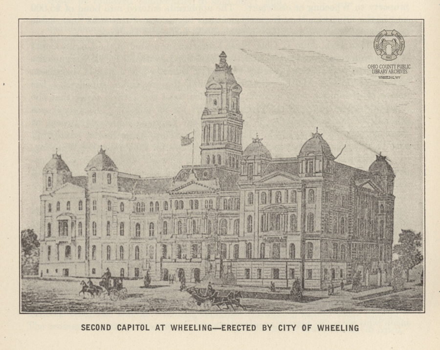Second State Capitol Building in Wheeling. - Image from WV Blue Book, 1922. Collections of the Ohio County Public Library.