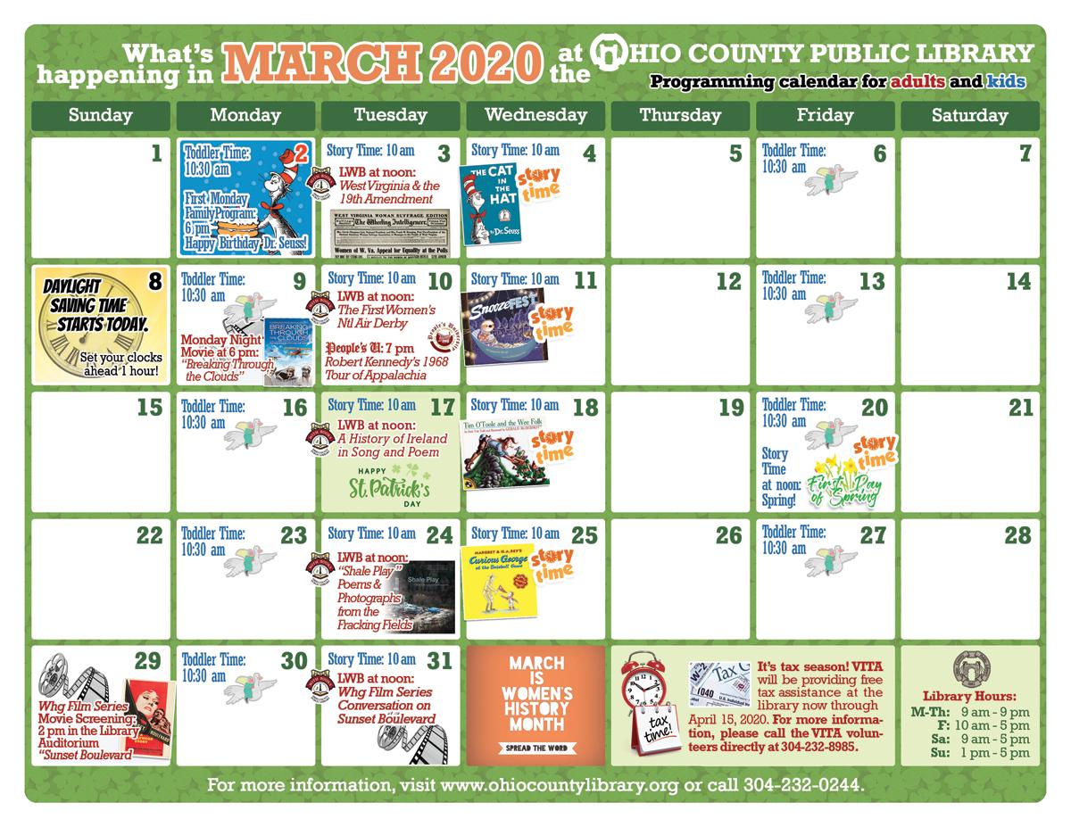 OCPL Programming Calendar: March2020 width=
