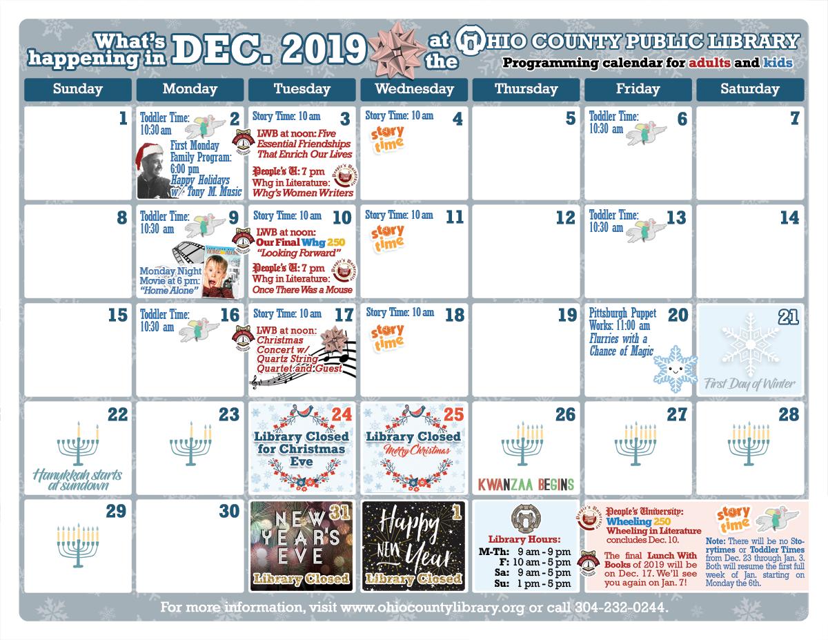OCPL Programming Calendar: December 2019