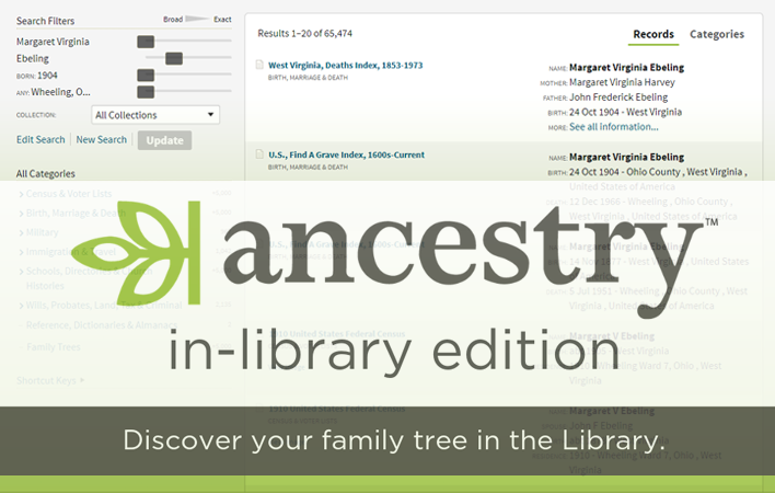 Ancestry Library Edition - In Library Access Only