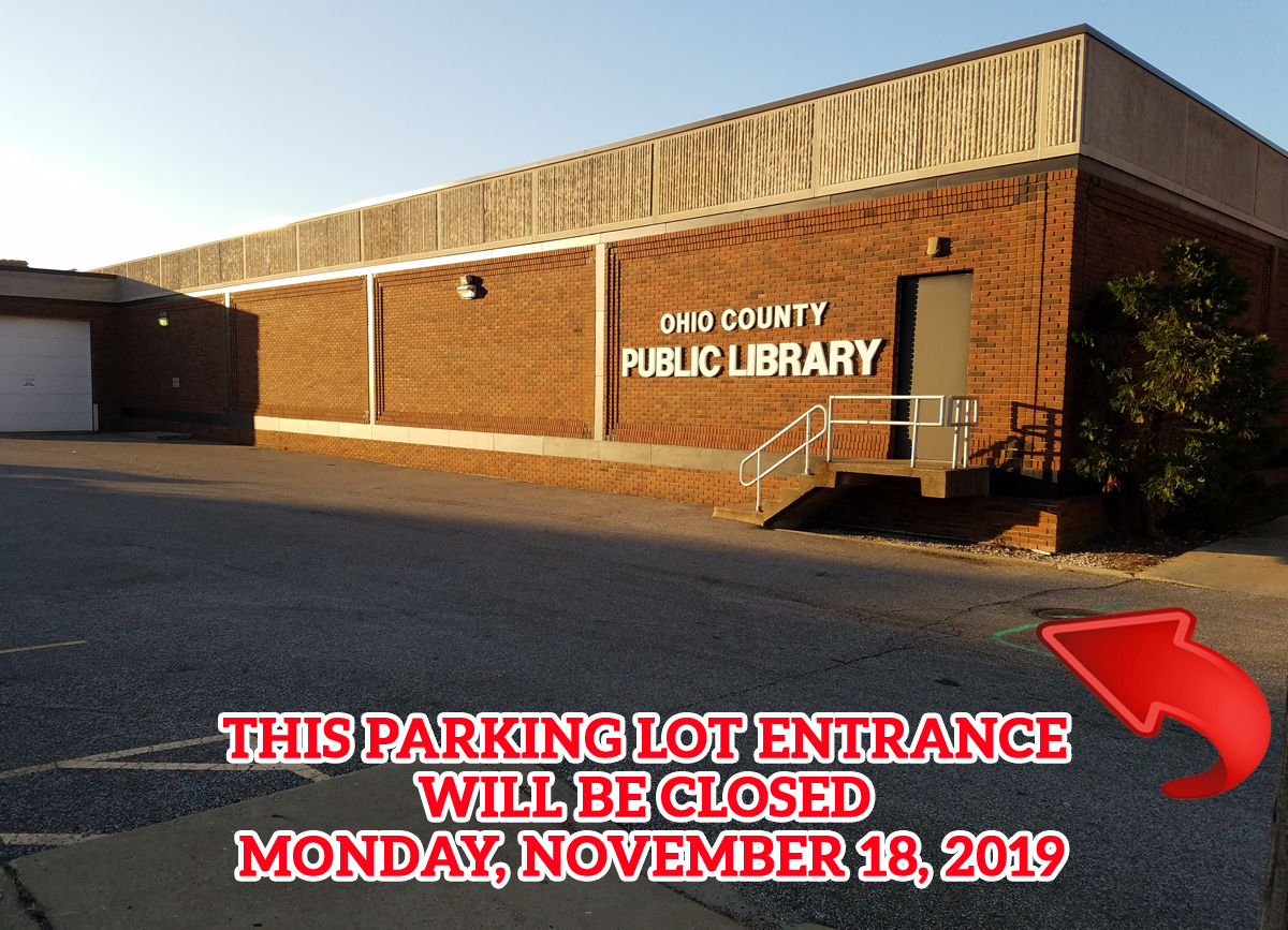 OCPL Main Parking Lot Closed Monday, November 18, 2019