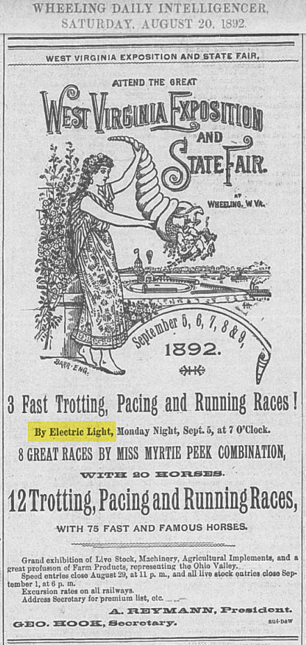 Advertistement: Wheeling Daily Intelligencer, August 20, 1892