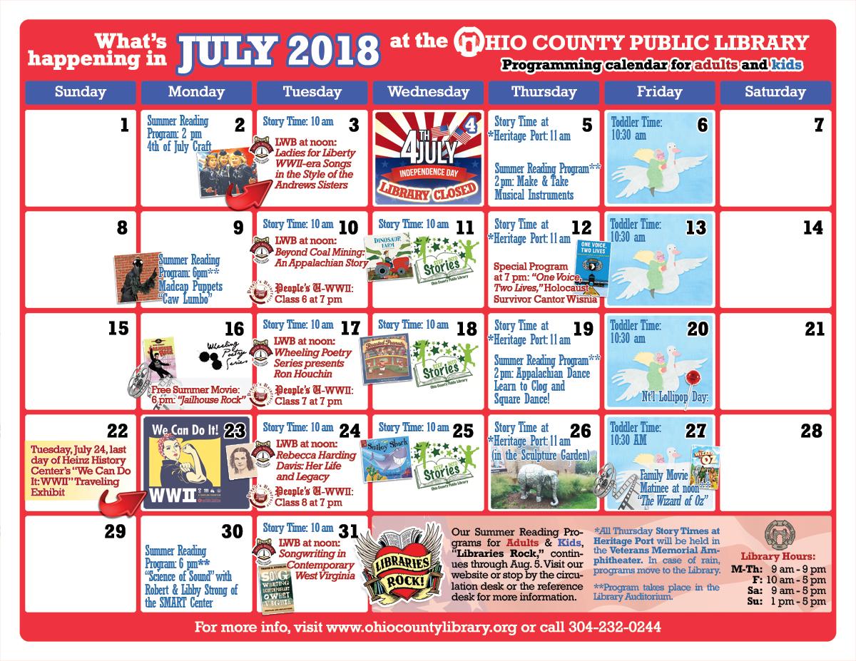 OCPL Programming Calendar: July 2018