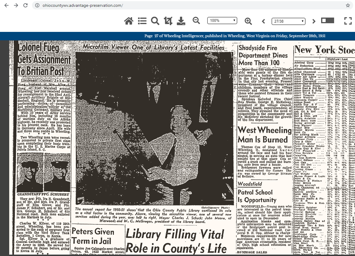 Example of a newspaper page on the Ohio County Public Library's Online Newspaper Archive