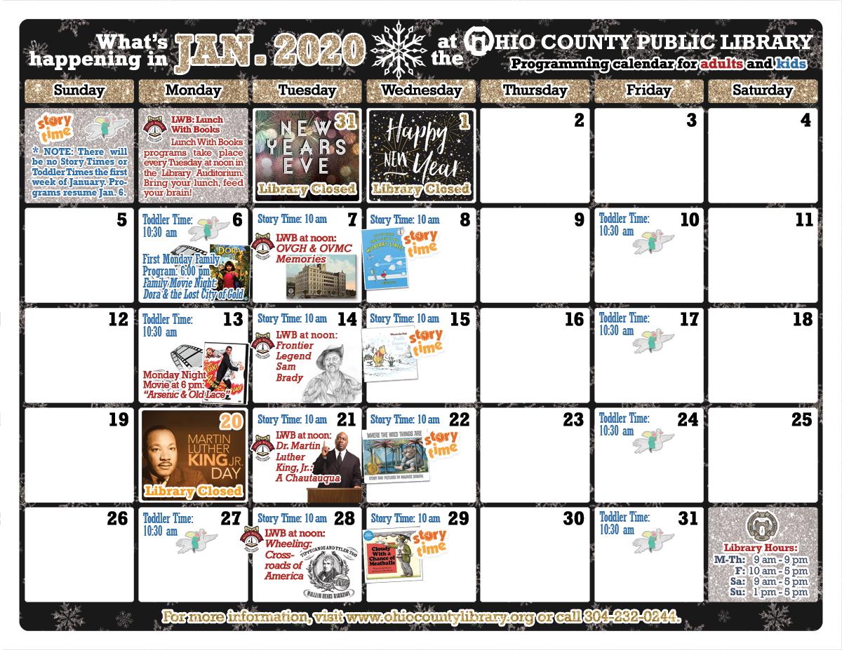 OCPL Programming Calendar: January 2020 width=