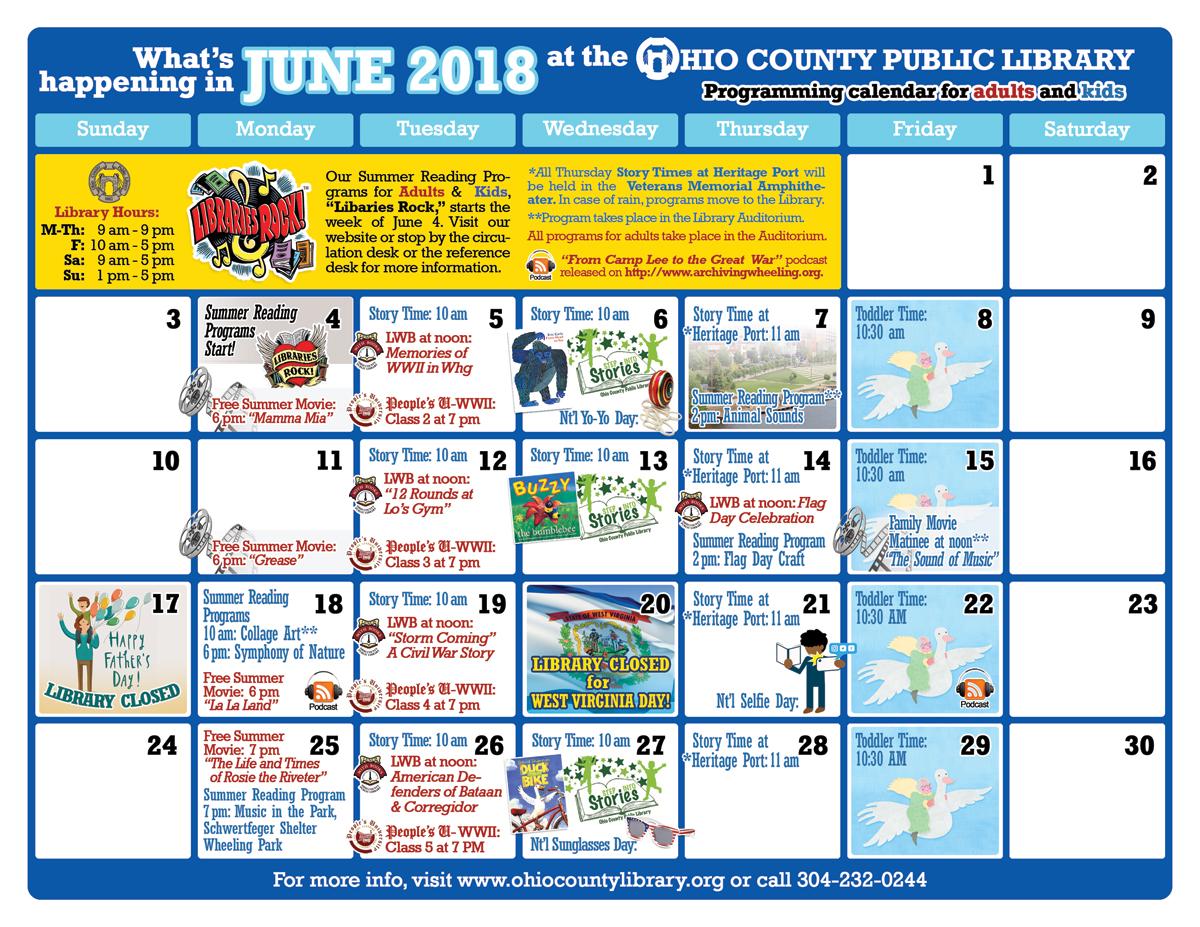 OCPL Programming Calendar: June 2018
