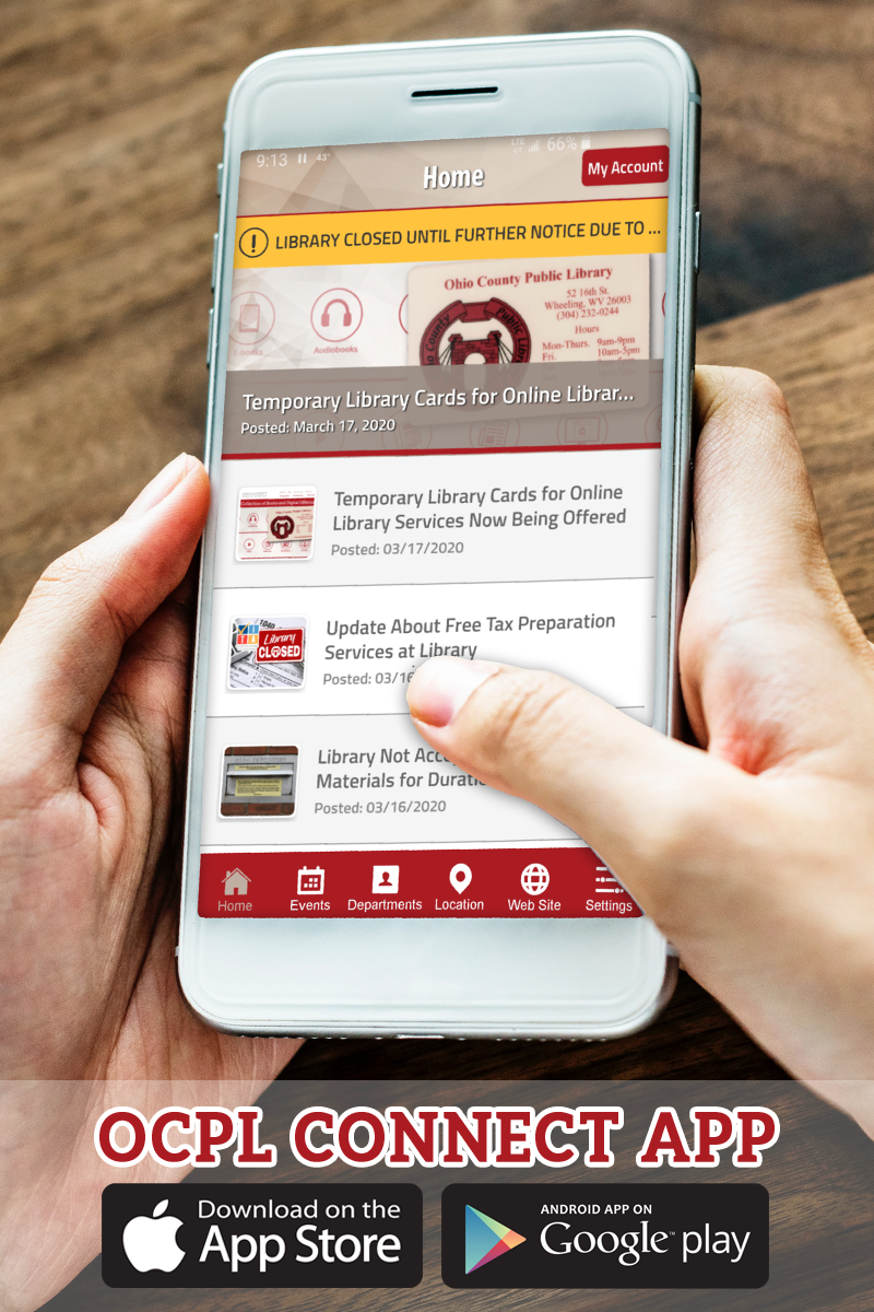 The OCPL Connect App keeps you update date on all the latest Library news and events