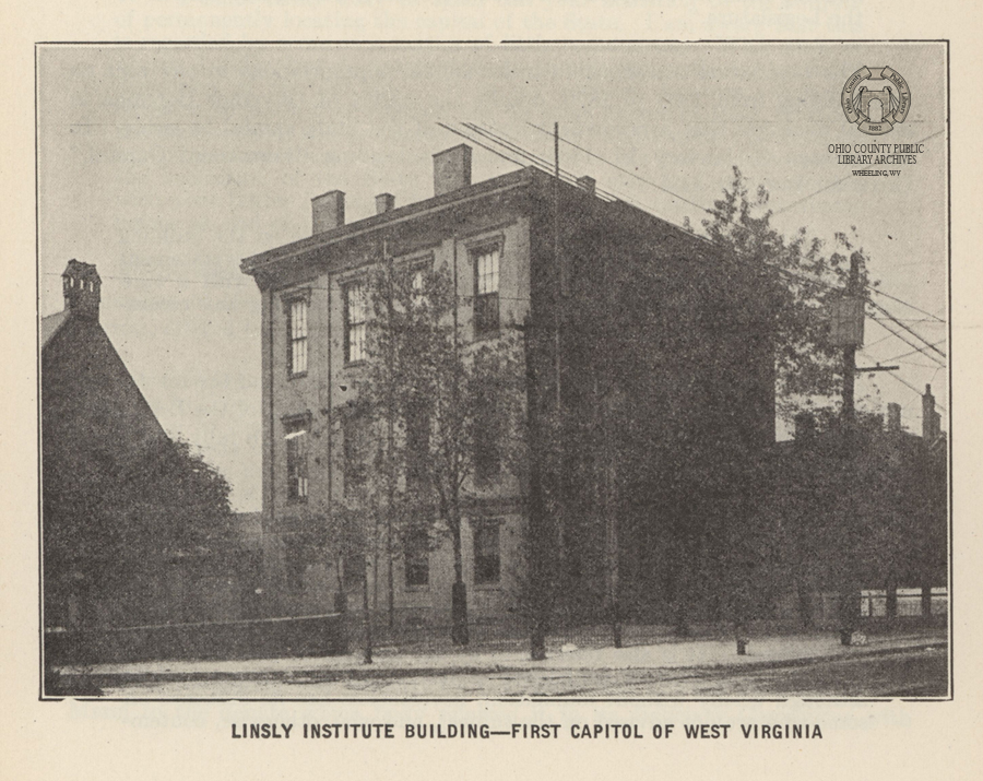 Linsly Institute Building. - Image from WV Blue Book, 1922. Collections of the Ohio County Public Library.