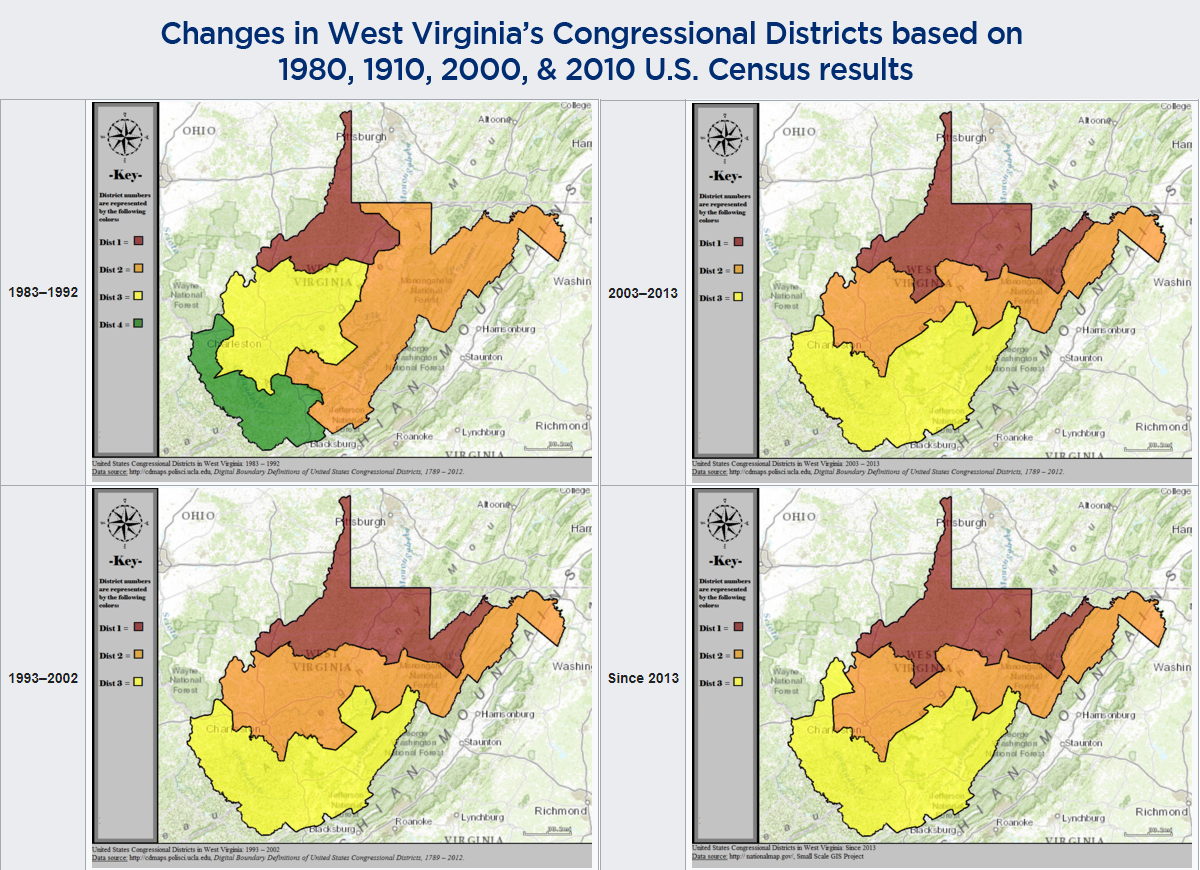 Changes in West Virginia's Congressional Districts based on  1980, 1910, 2000, & 2010 U.S. Census results