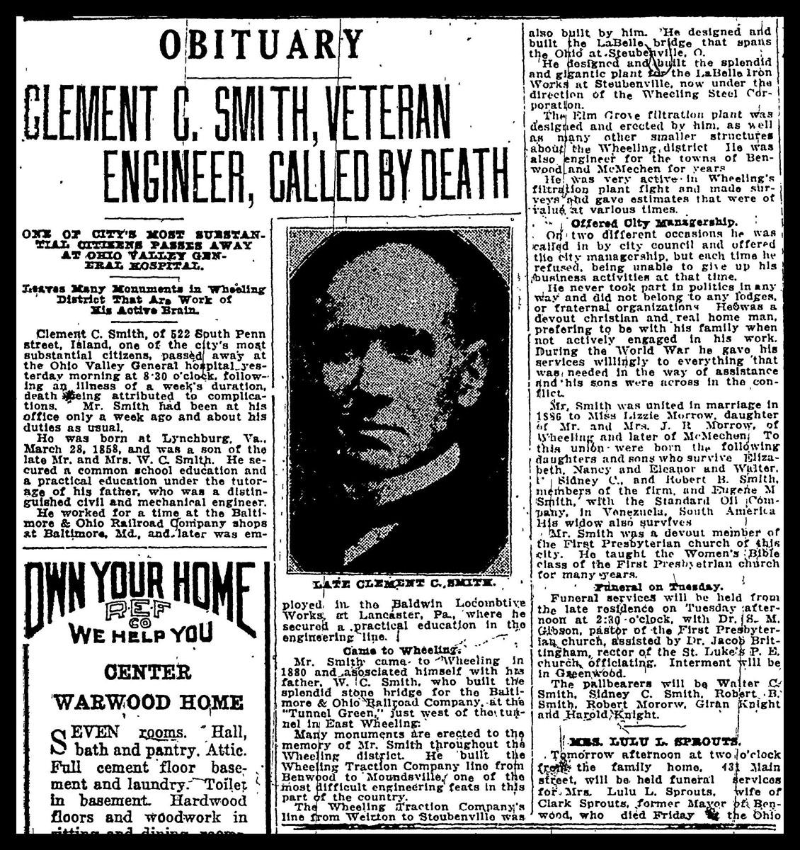 C.C. Smith obituary, Wheeling Intelligencer, May 24, 1924, p. 12