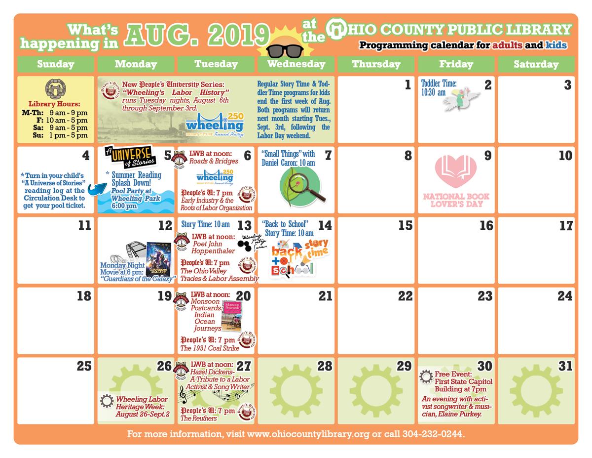 OCPL Programming Calendar: August 2019