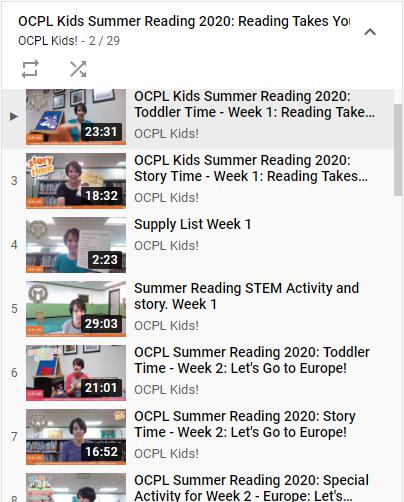 OCPL Kids Summer Reading 2020 Playlist on Youtube