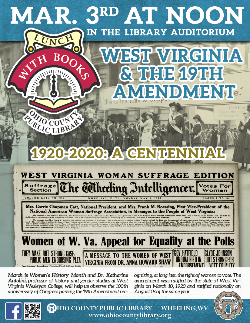 Lunch With Books: Tuesday, March 3, 2020 at noon - West Virginia & the 19th Amendment