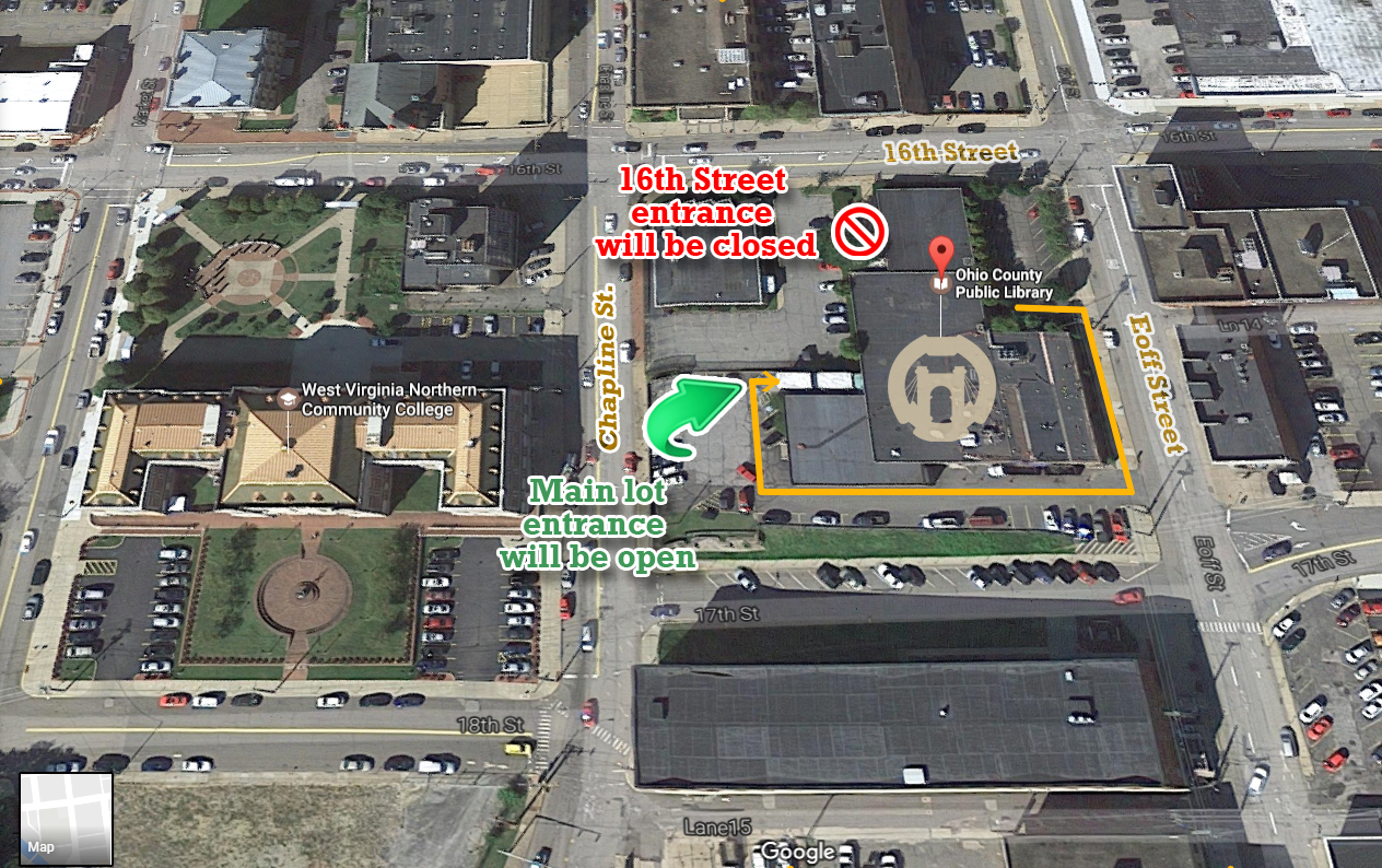 OCPL 16th Street entrance temporarily closed starting June 19, 2017.