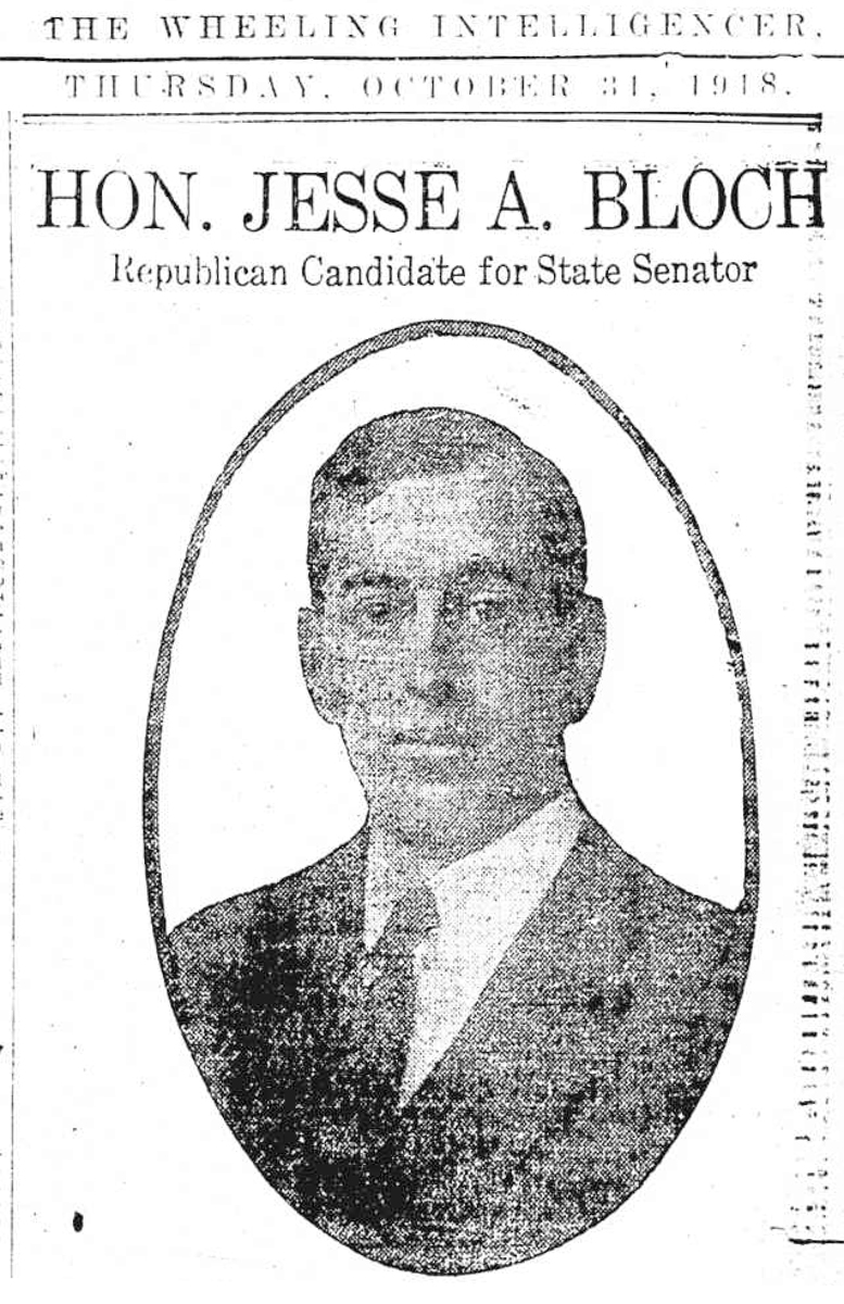 Jesse Bloch, Wheeling Intelligencer, October 31, 1918
