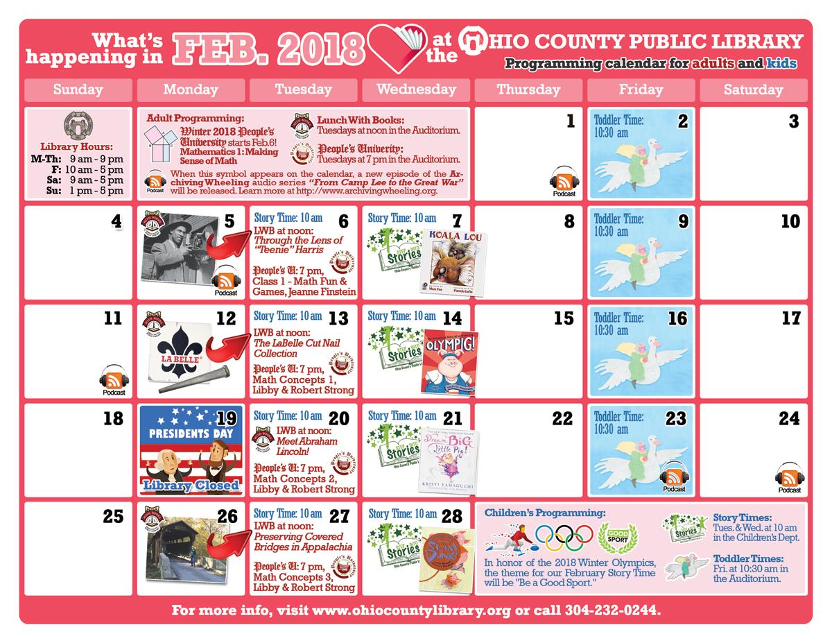 OCPL Programming Calendar: February 2018