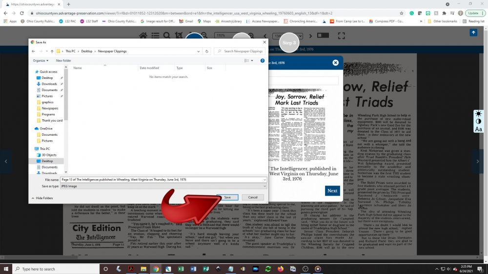 Creating a newspaper clipping - step 10: A Save As pop-up box will appear on the screen. Choose a folder on your computer or device to save the image to and click the Save button