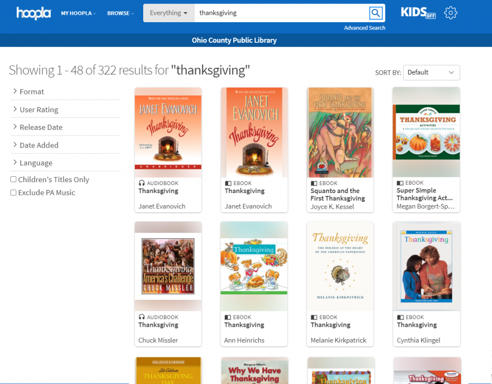 Books about Thanksgiving available right now through Hoopla