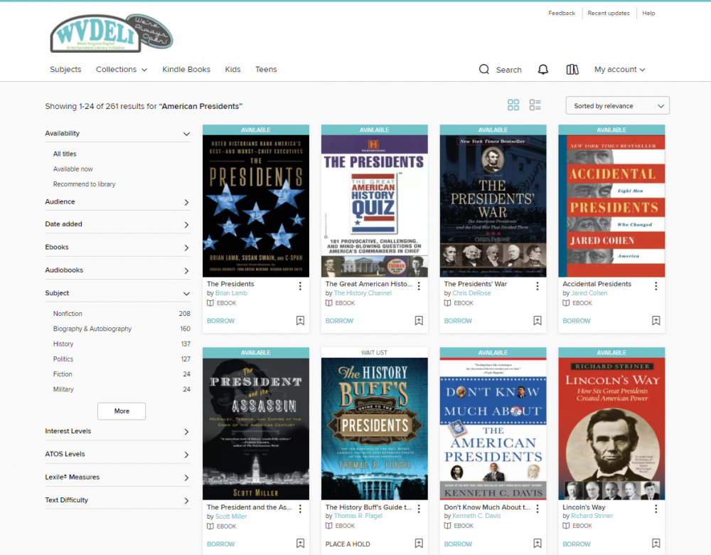 Books about American Presidents available through WVDeli