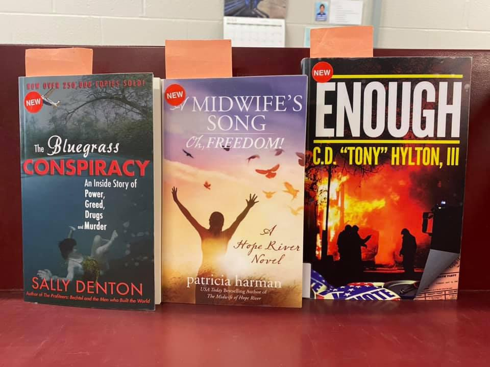 New Fiction Available for curbside pick-up at the Library - The Bluegrass Conspiracy by Sally Denton, A Midwife's Song - Oh, Freedom by Patricia Harman, Enough by C. D. Tony Hyton