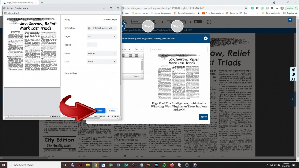 Creating a newspaper clipping - step 6: Another pop-up box will appear on the screen showing you a preview of the print-out. Click the