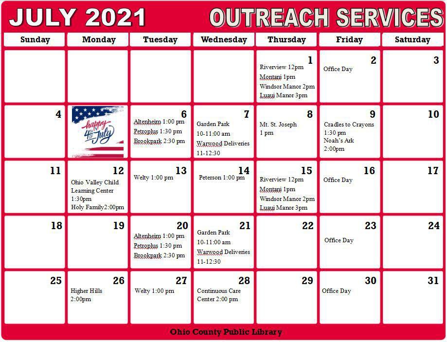 July 2021 Outreach Calendar