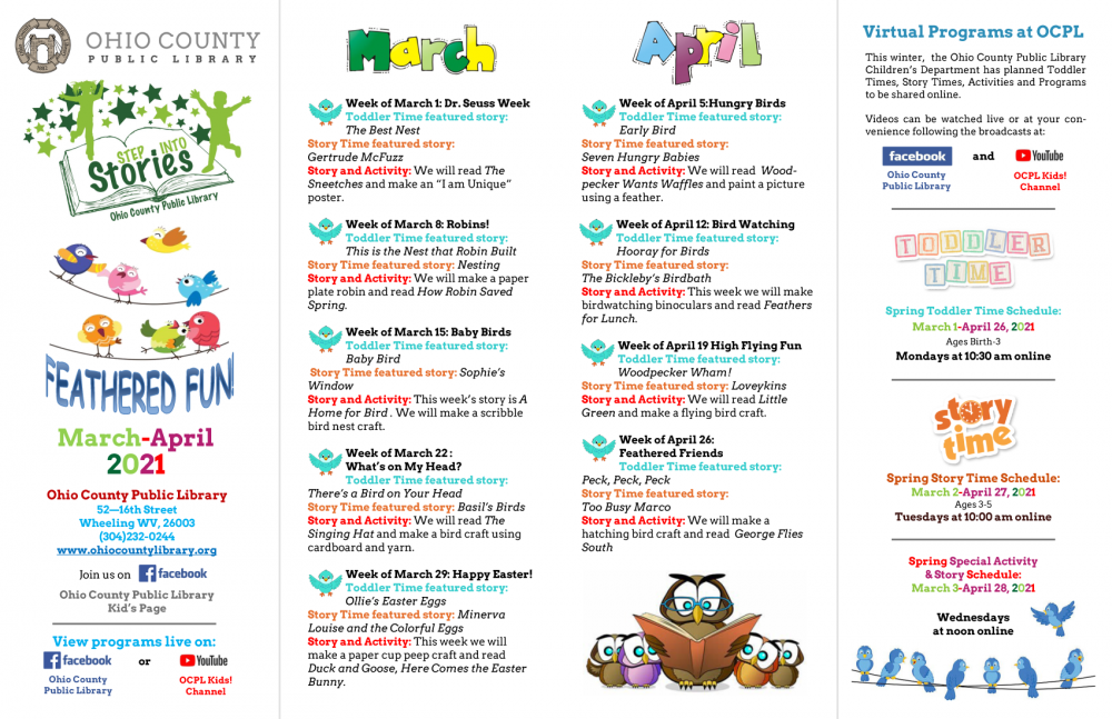Spring 2021 OCPL Kids' Programming Schedule for March and April