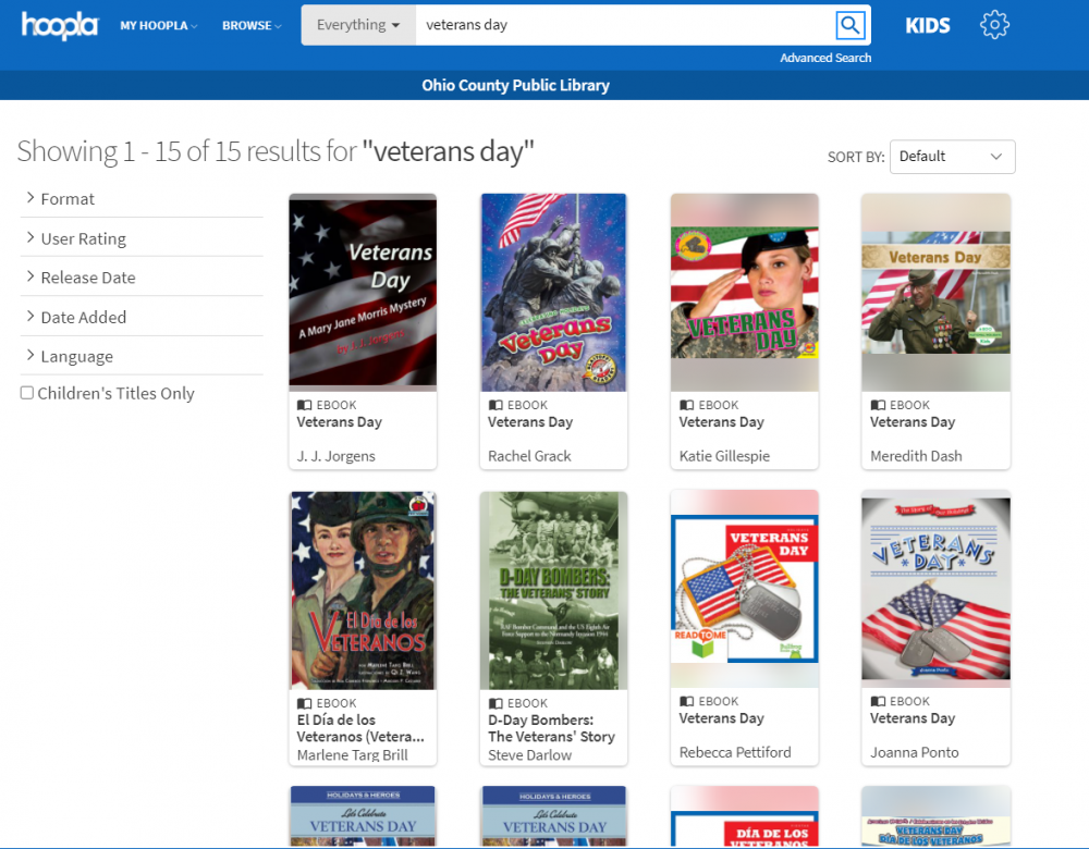 Books about Veterans Day available right now through Hoopla