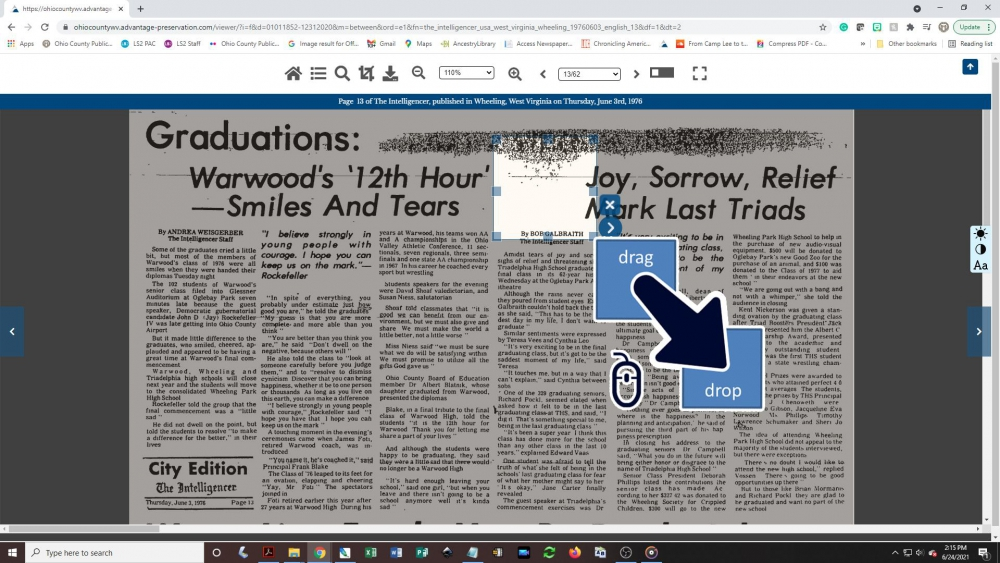 Creating a newspaper clipping - step 3: Expand crop box to cover the entire article
