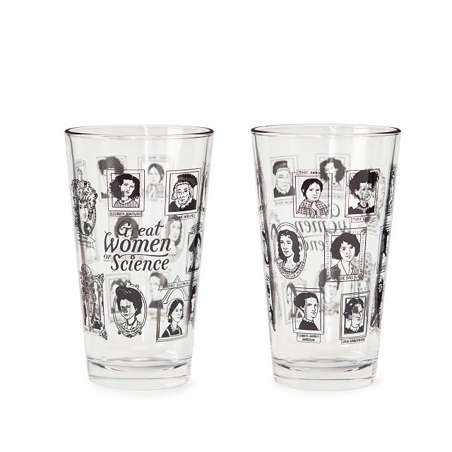 This Great Women of Science Pint Glass will be raffled off during class 1