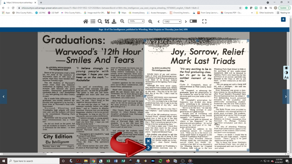 Creating a newspaper clipping - step 4: To print the article, click on the arrow button in the lower-left corner of the cropping box.
