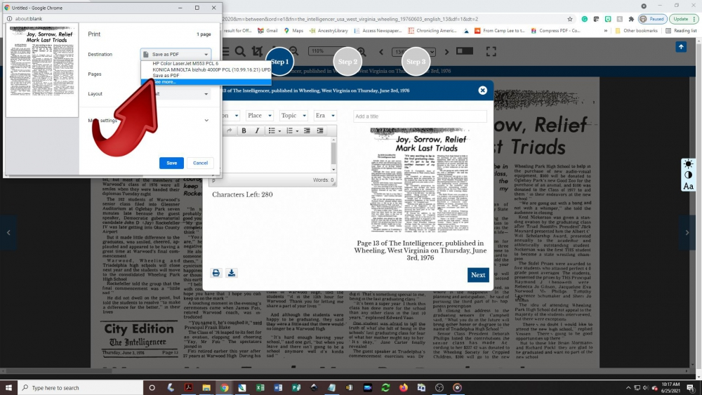 Creating a newspaper clipping - step 6: To download as a pdf, click the destination/printer box and look for the