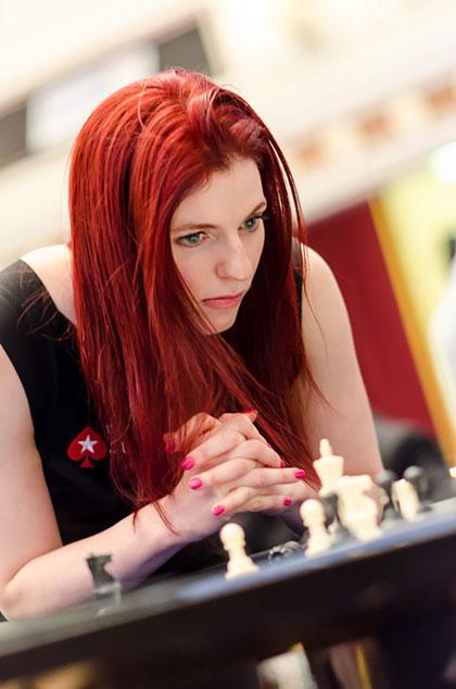 Jennifer Shahade playing chess
