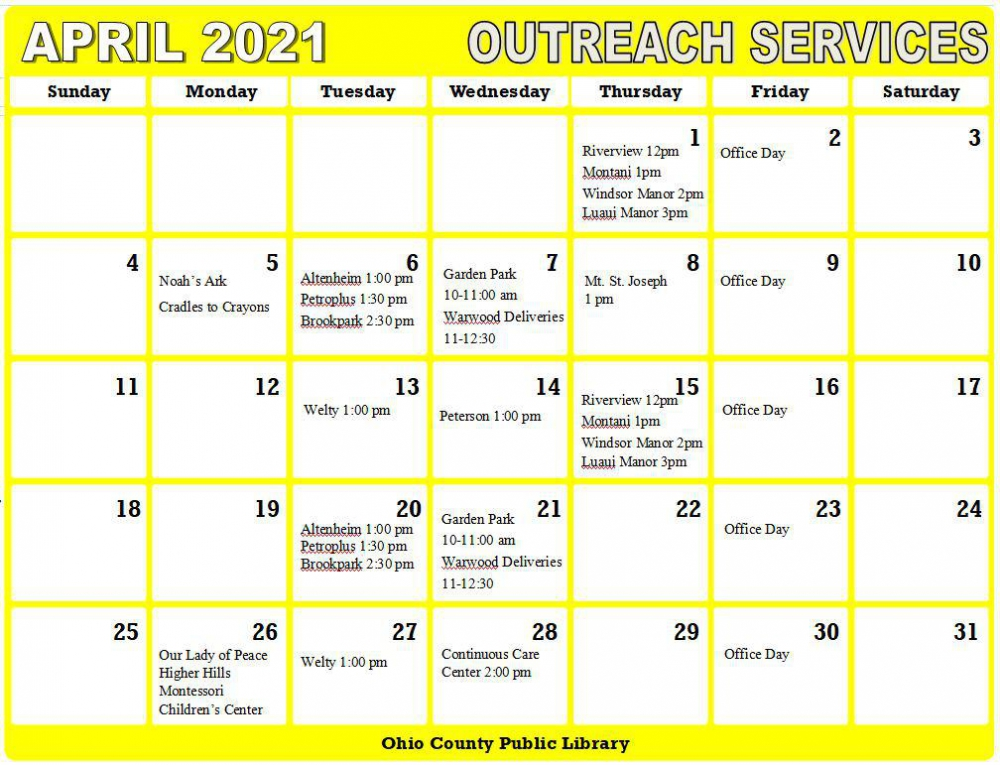 April 2021 Outreach Services Schedule