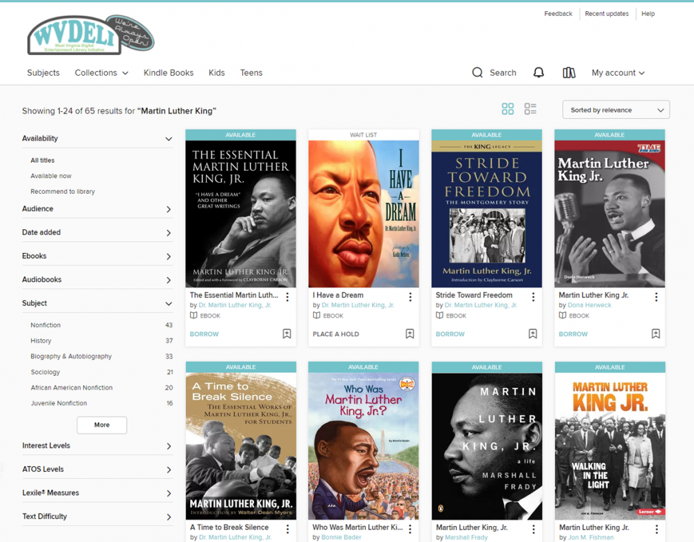 Books about Martin Luther King Jr. available through WVDeli