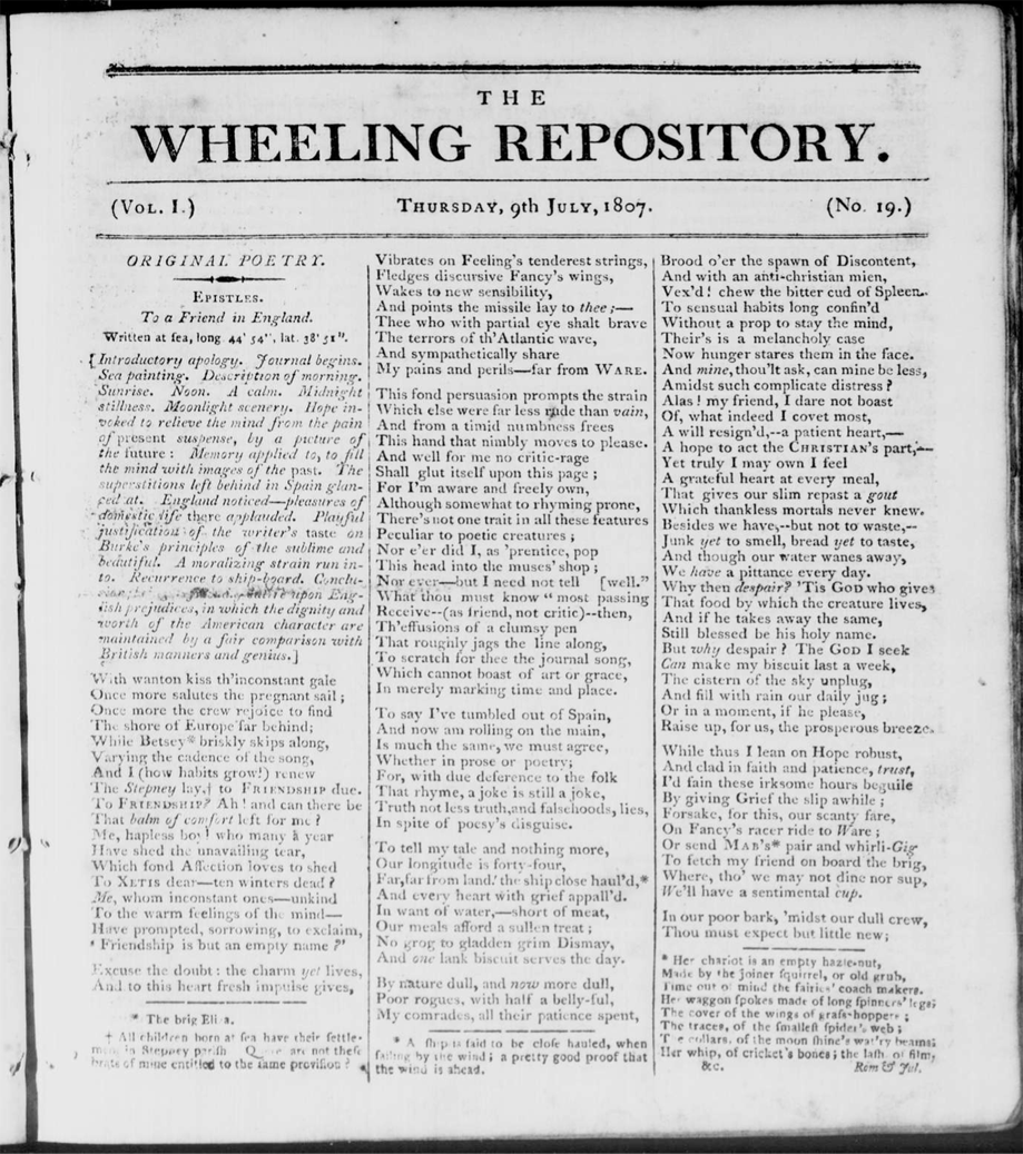Cover page of the Wheeling Repository from July  9, 1807